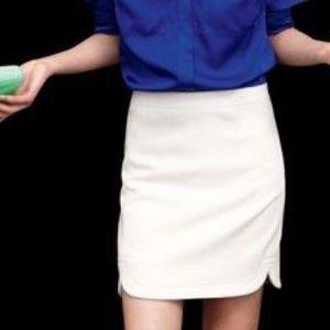 j. crew | white wool shirt tail mini skirt